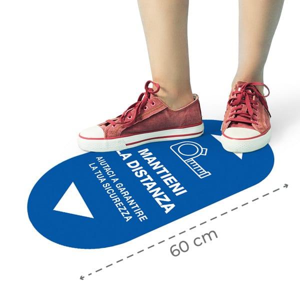 Adesivi pavimento distanza ovali con grafica personalizzata   tictac.it