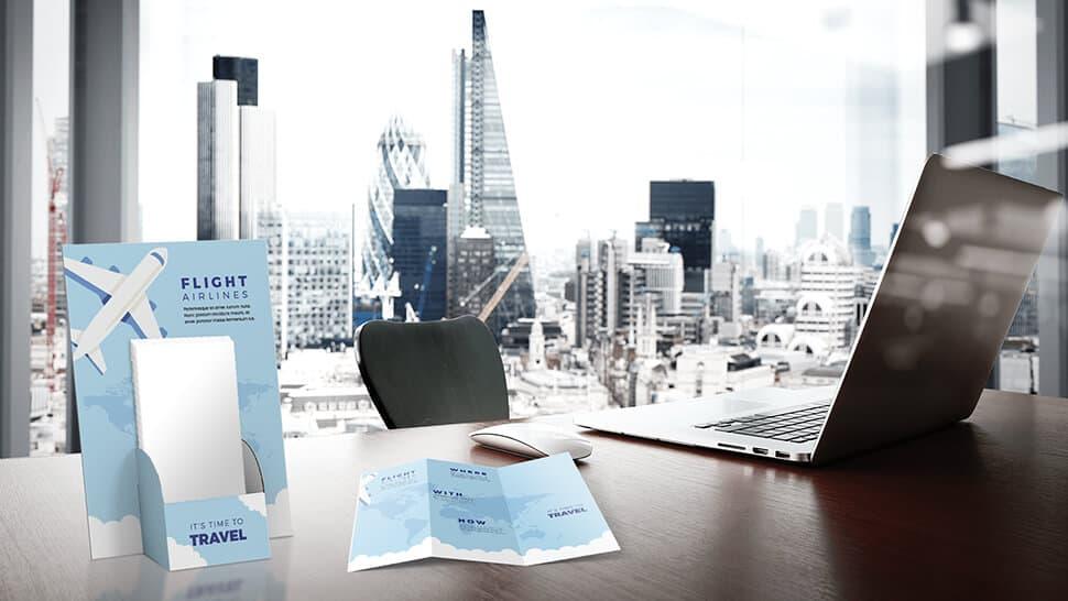 Porta volantini Basic in cartone con tasca al centro  per uffici| tictac.it