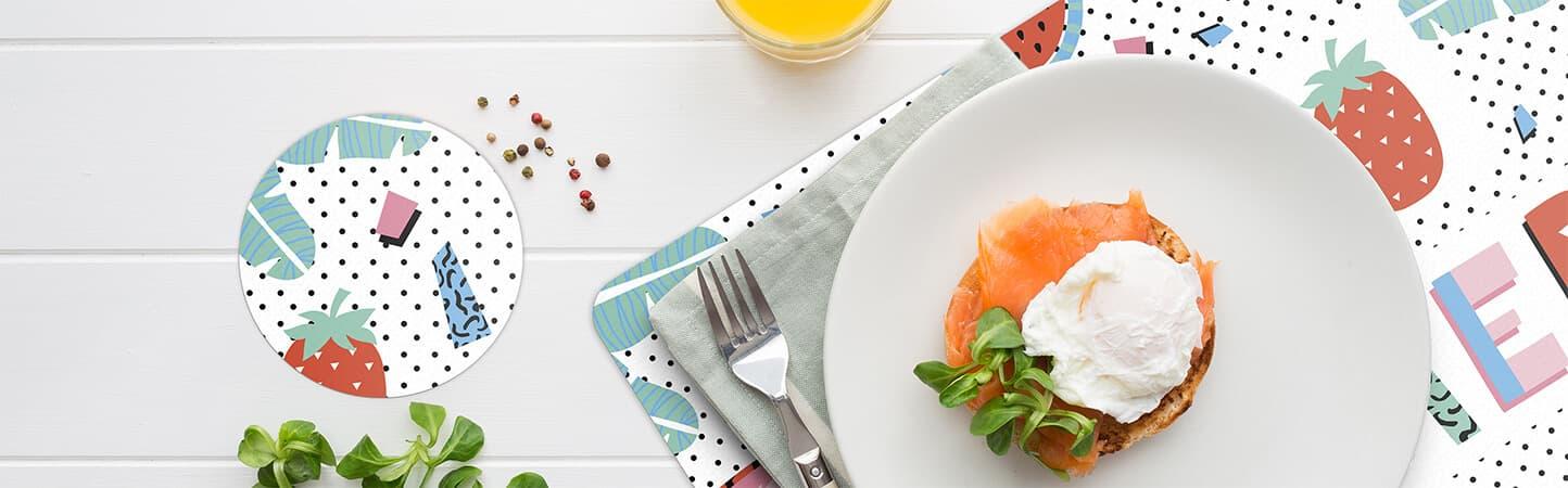 Tovaglietta da tavola e sottobicchieri con grafica personalizzabile | tictac.it