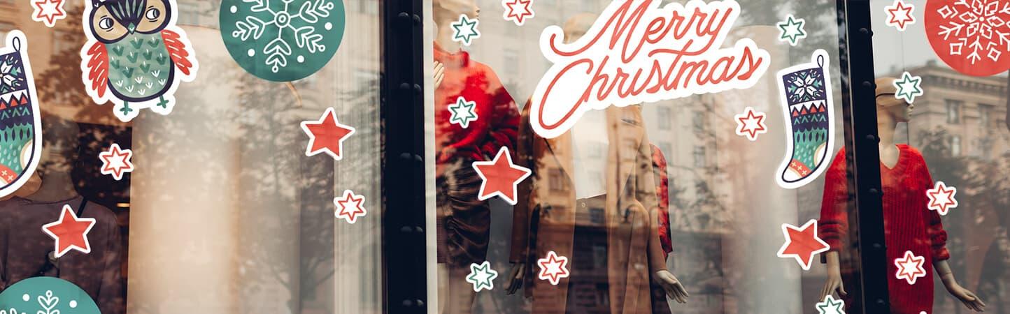 kit adesivi a tema natalizio per allestimento vetrine di negozi e locali | tictac.it