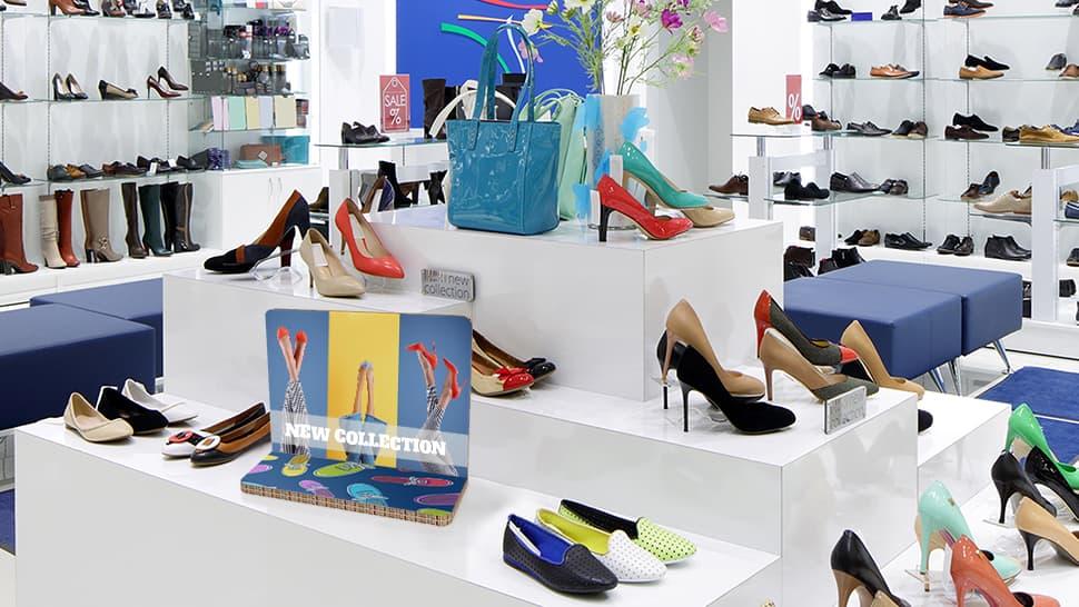 Display Rodolfo A3 orizzontale grafica personalizzata negozio scarpe | tictac.it