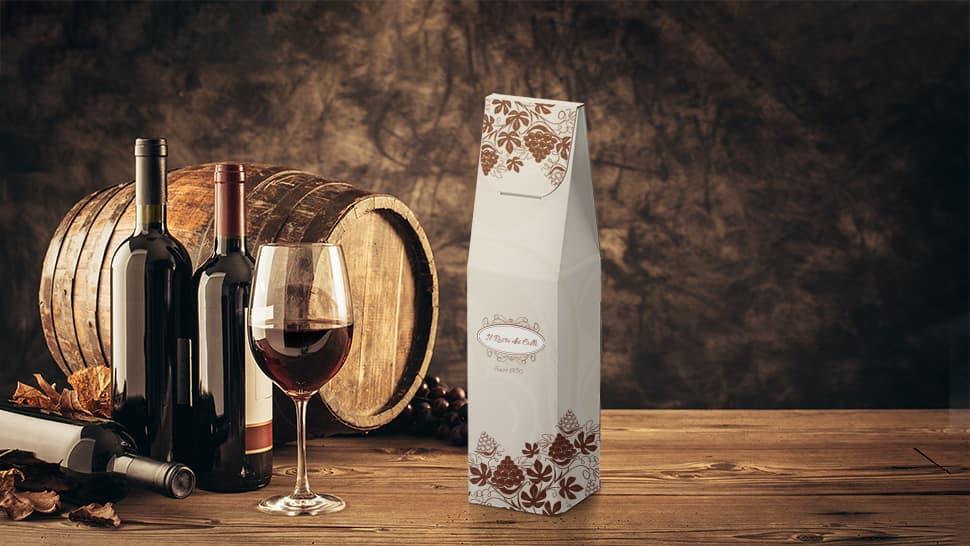 Scatola di bottiglia di vino con grafica personalizzata | tictac.it