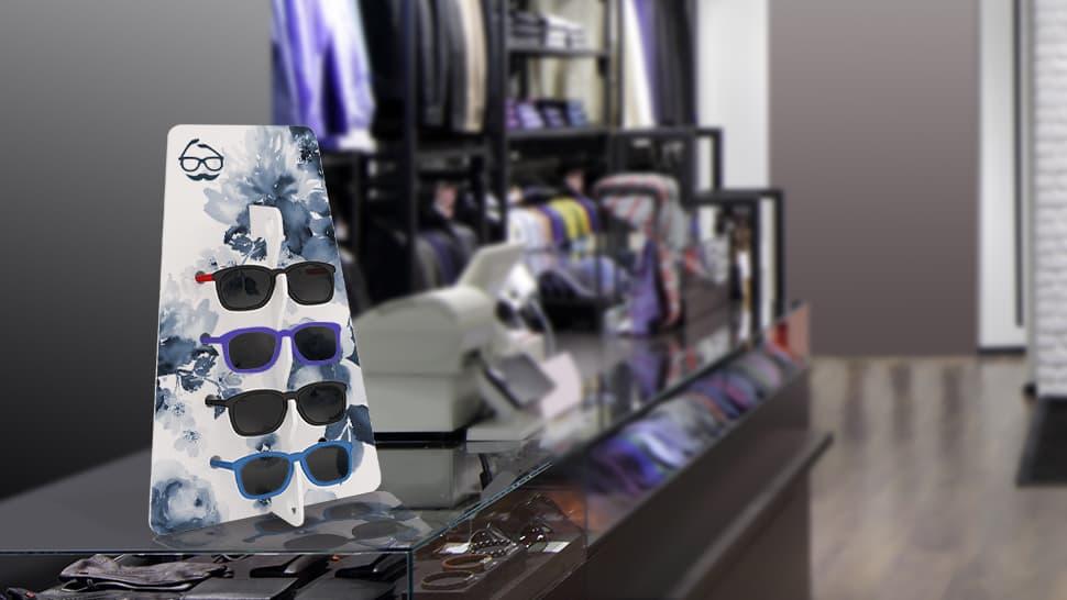 Espositore per occhiali Trapezio bianco negozio abbigliamento | tictac.it
