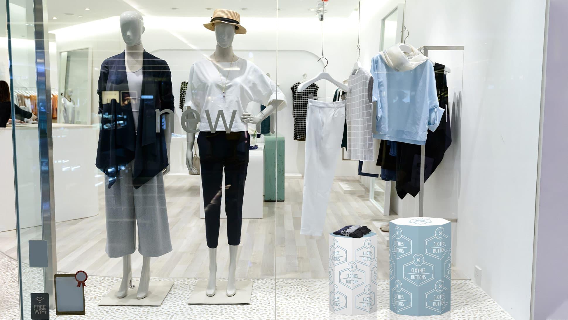 Ottagono decorativo in laminil piccolo grafica personalizzata vetrina negozio abbigliamento | tictac.it