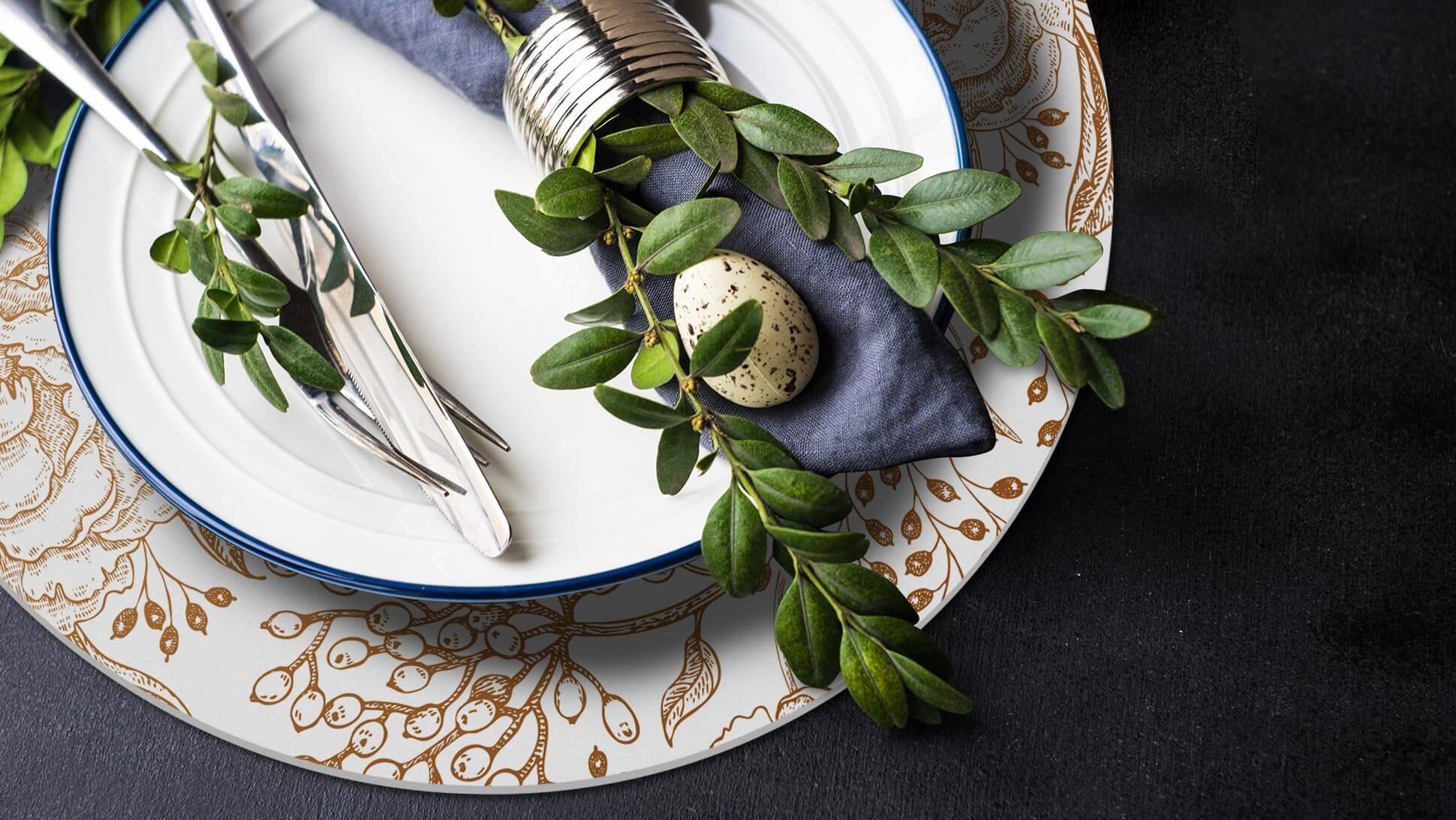Sottopiatto in Forex® 3mm con fiori oro prestampati | tictac.it