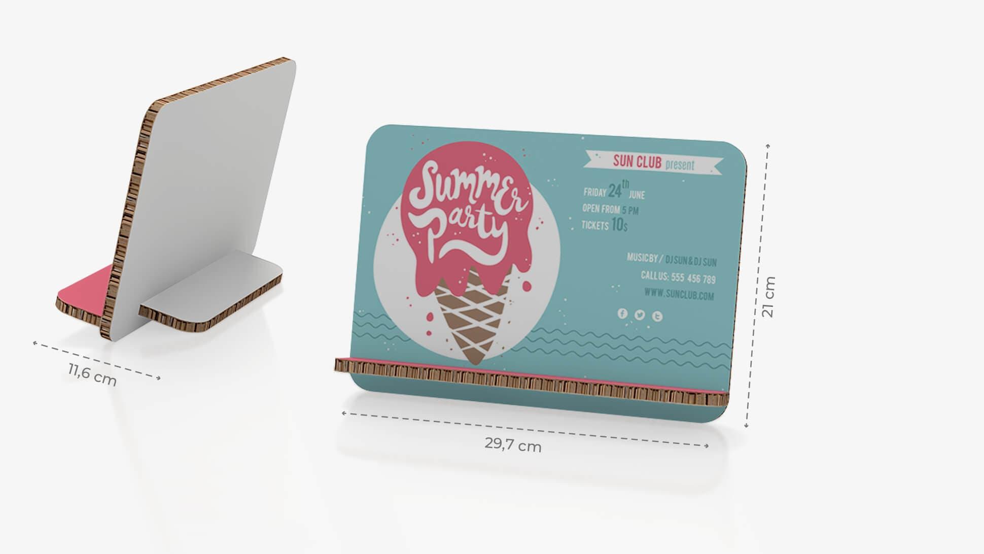 Display da banco inclinato 29,7x21 cm con grafica gelato | tictac.it
