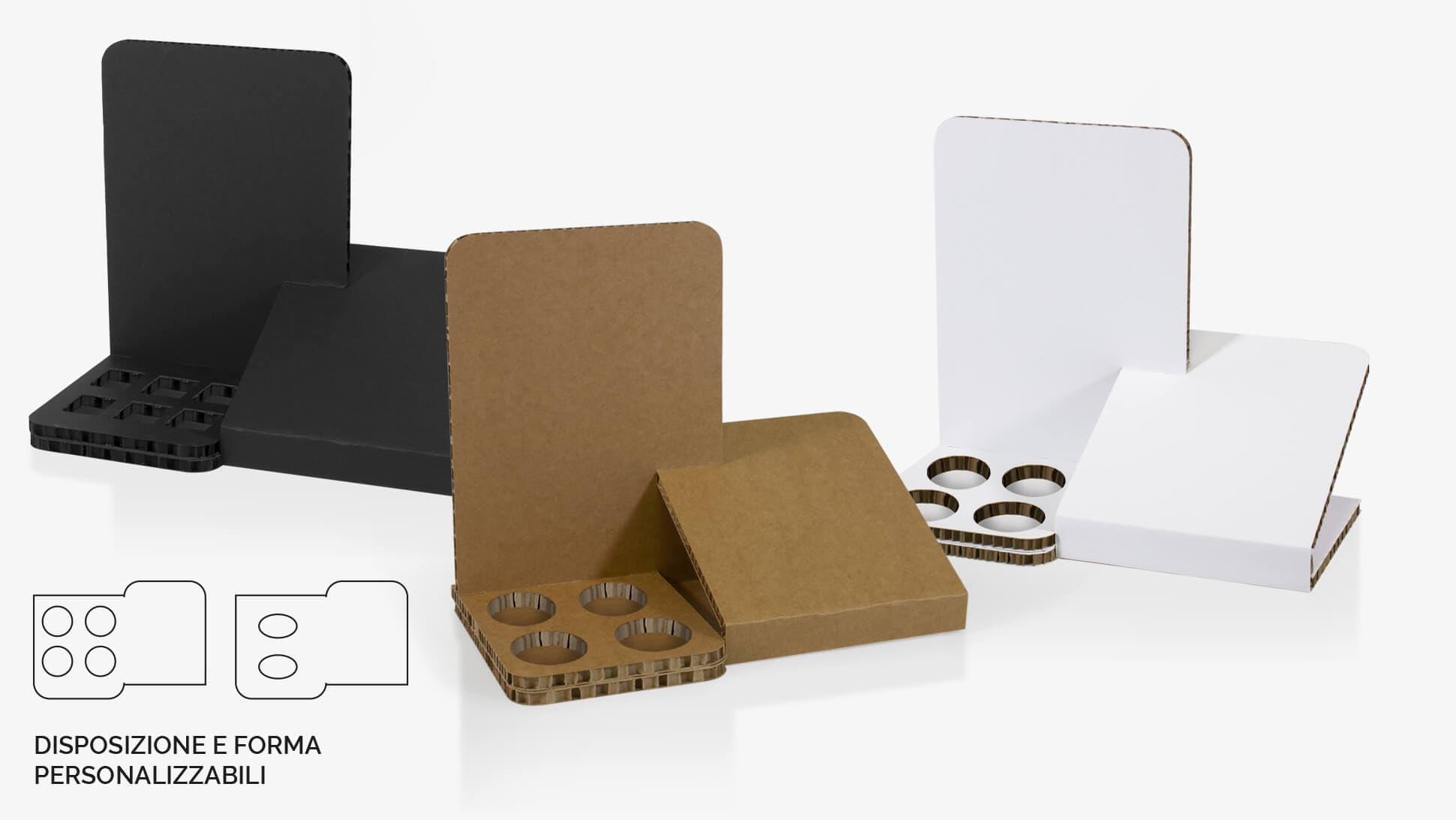 Display da banco in cartone Nidoboard avana o nero con fori personalizzabili alla base | tictac.it