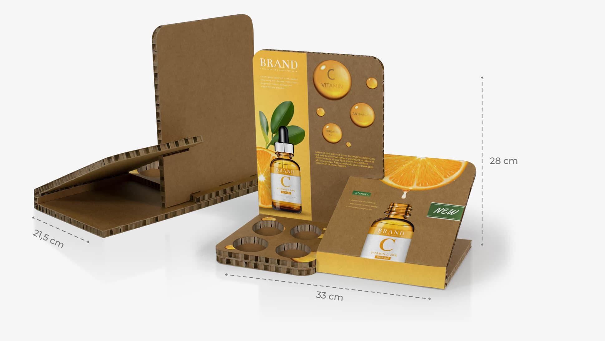 Espositore da banco Gelso color Avana per esposizione di prodotti | tictac.it