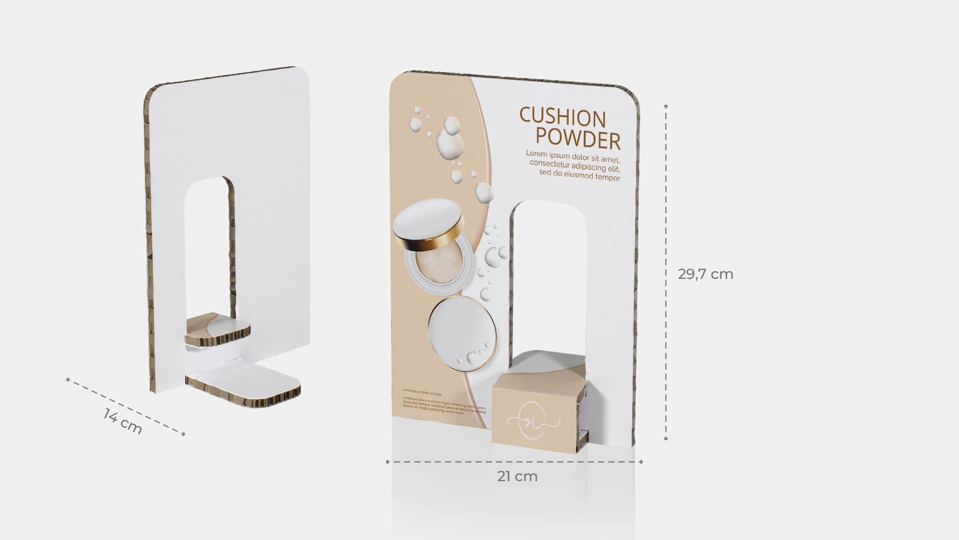 Espositore Kiwi 2 con portaprodotti a destra in cartone bianco | tictac.it