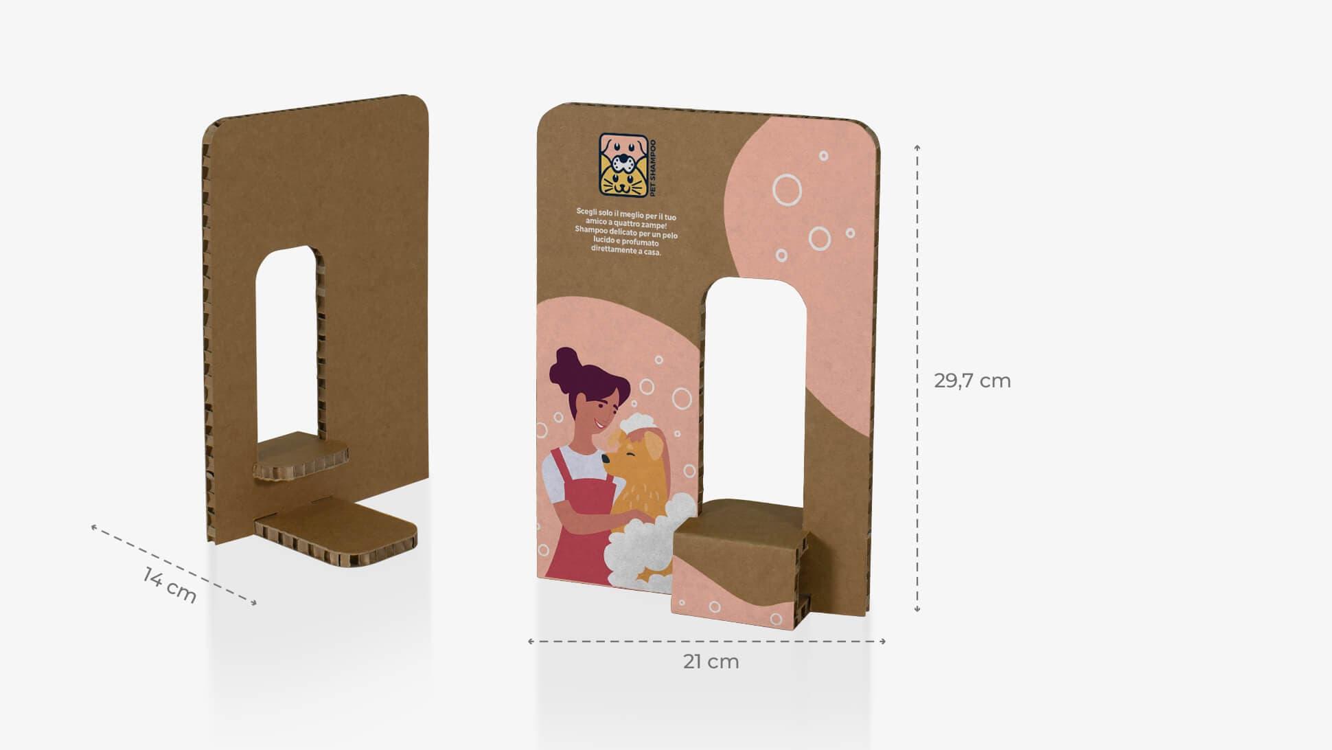 Espositore Kiwi 1 color avana porta prodotti con foro a destra| tictac.it