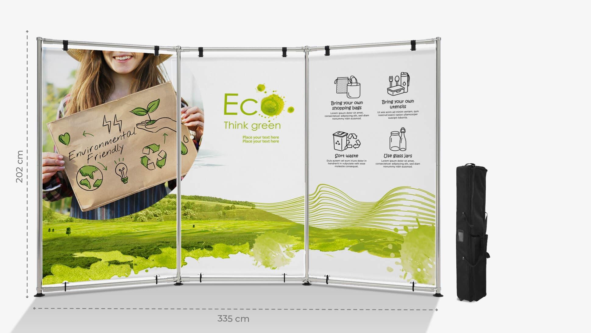 Parete espositiva Jek personalizzabile con grafica ecofriendly | tictac.it