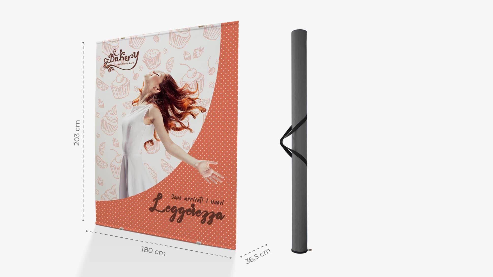 Display Maxi 88 con struttura in alluminio e poster monofacciale 180x206hx36cm| tictac.it