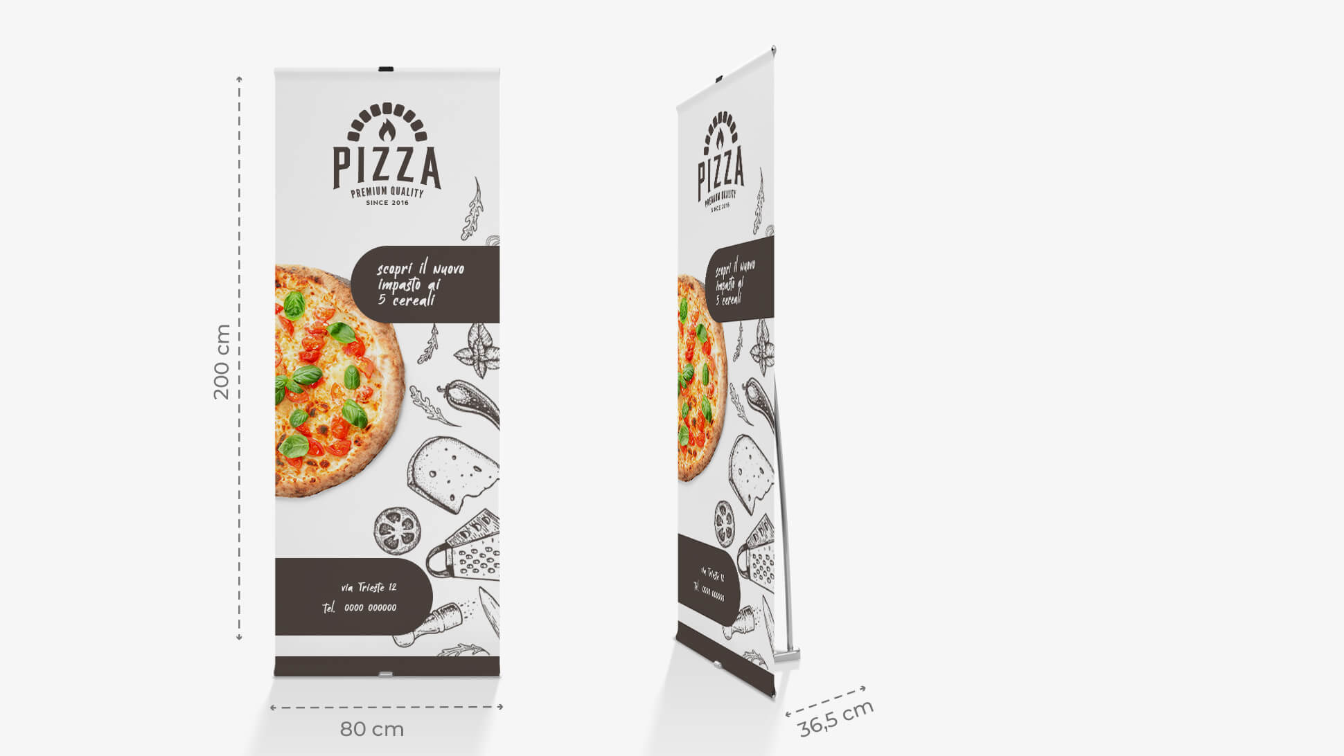 Roll Up Mitico con grafica pizzeria | tictac.it