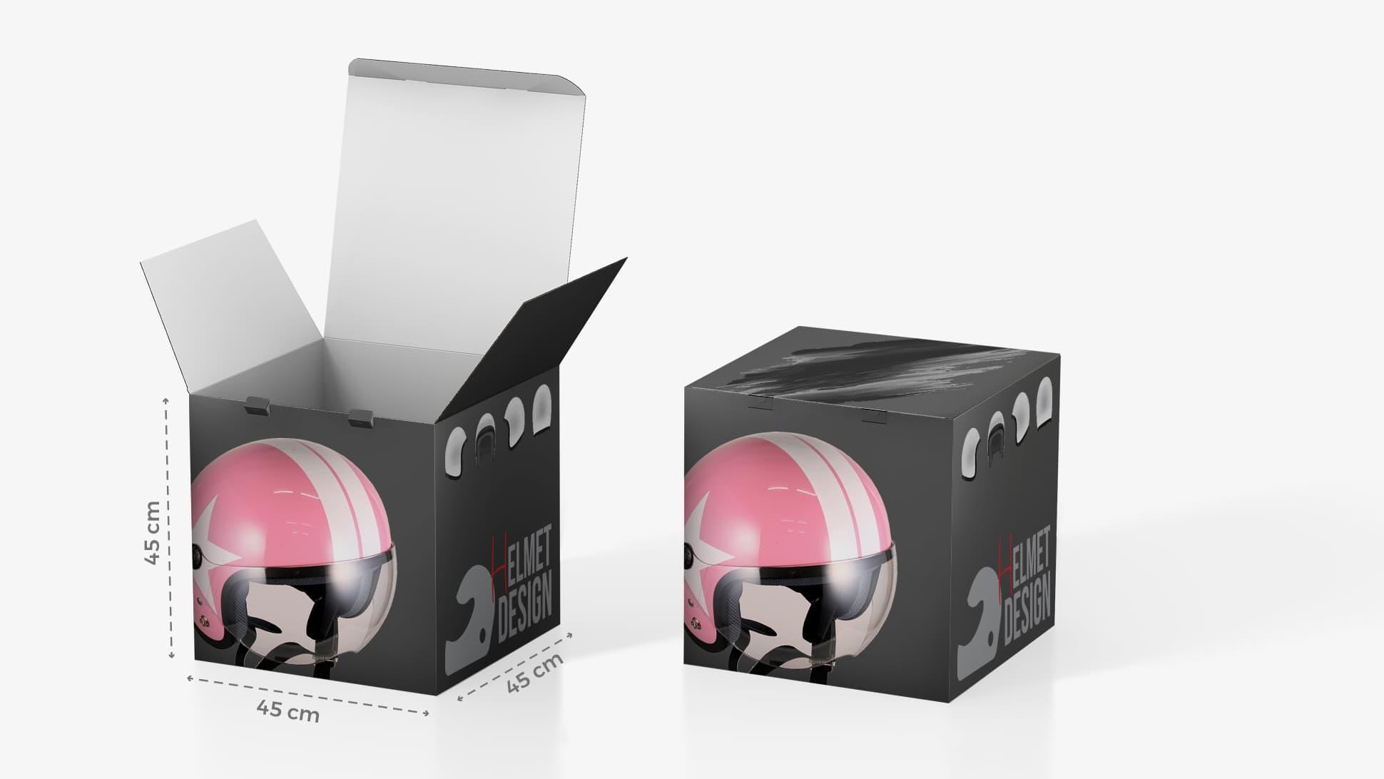 Scatola in cartone 45x45 cm con grafica casco | tictac.it