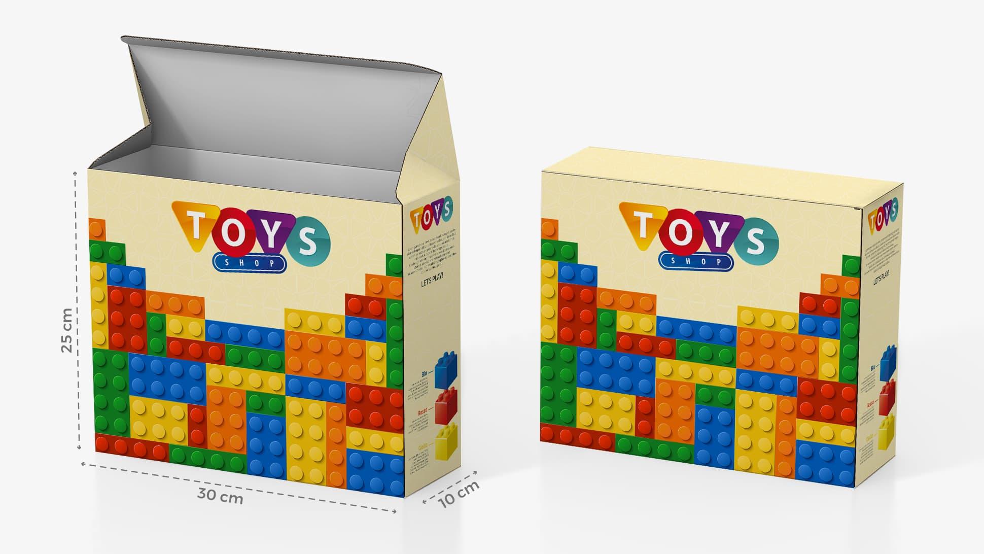 Scatola in cartone 30x25 cm con grafica giochi | tictac.it