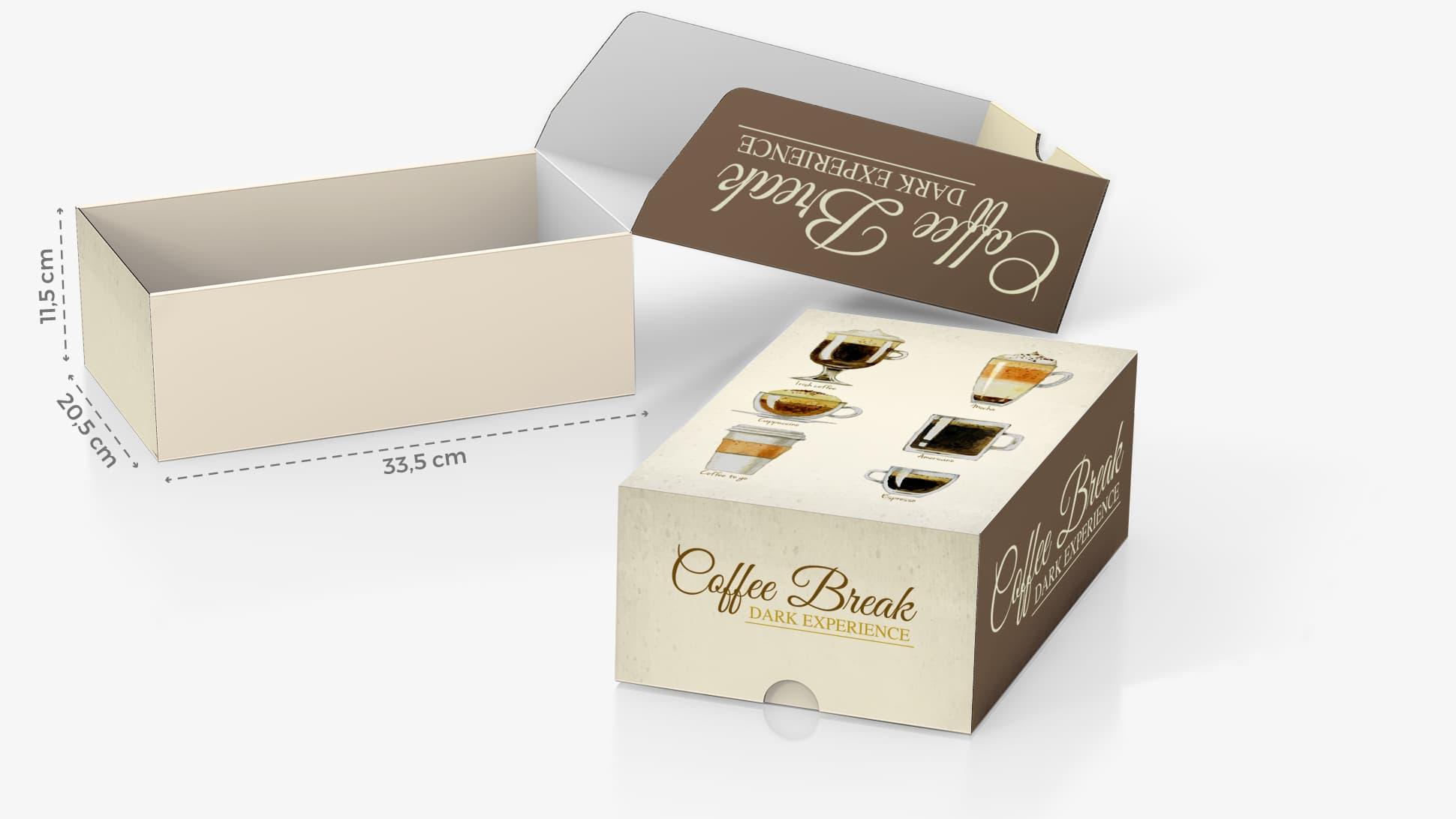 Scatola in cartone 33,5x11,5 cm con grafica caffè | tictac.it