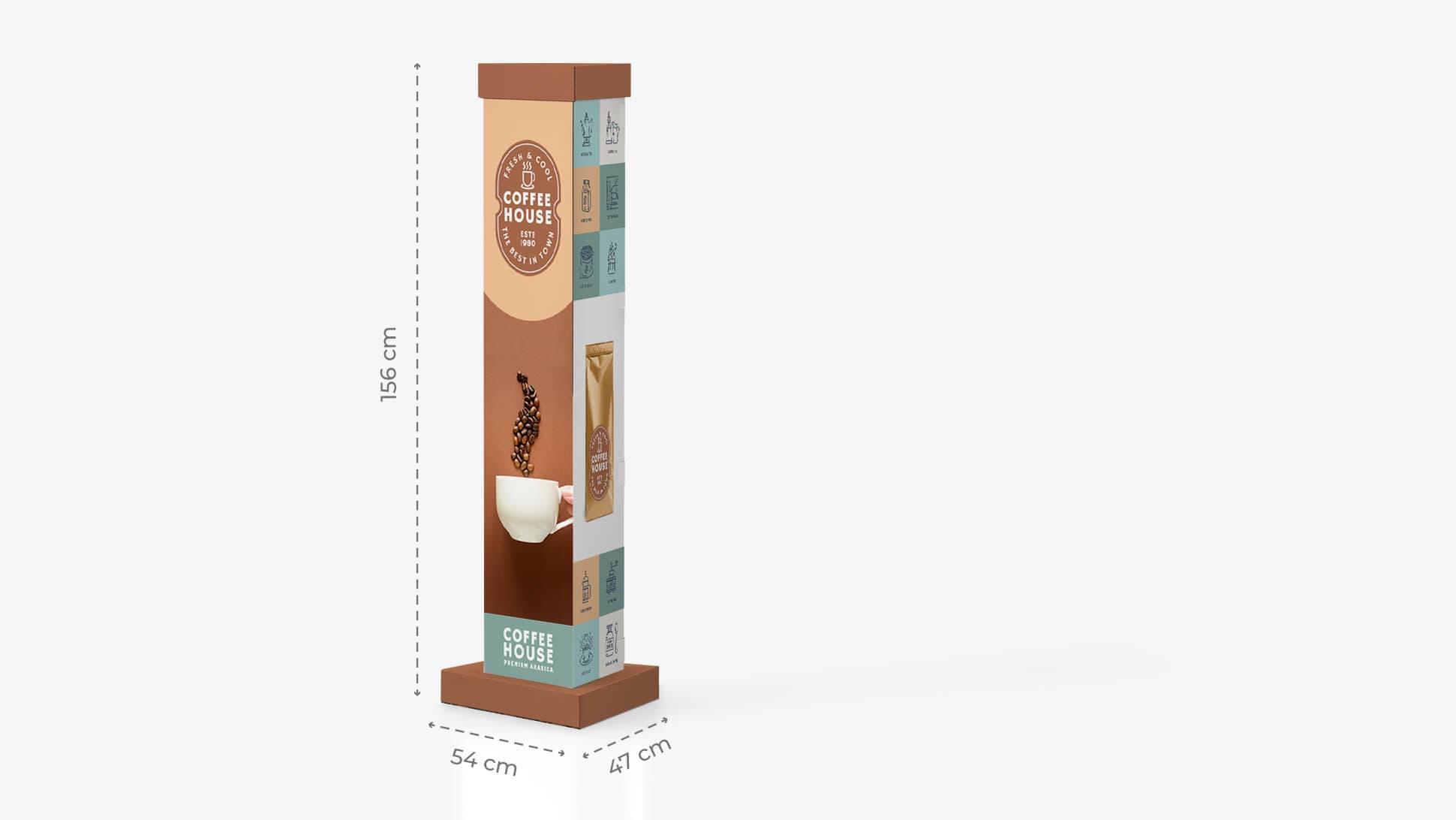 Totem in cartone grafica caffè | tictac.it