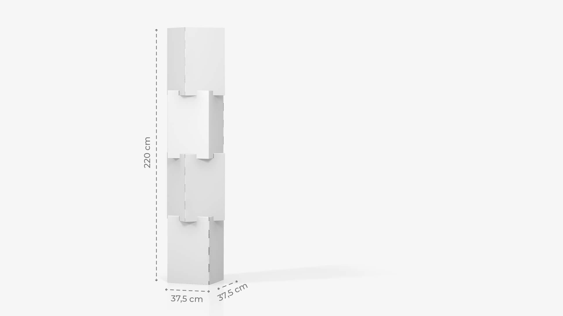 Espositore personalizzabile con 4 cubi sovrapposti h220 cm | tictac.it
