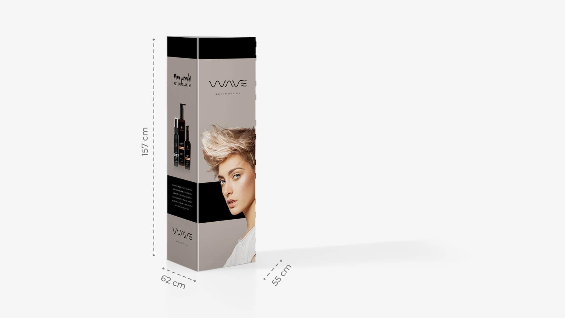 Espositore h157 cm grafica prodotti per capelli | tictac.it