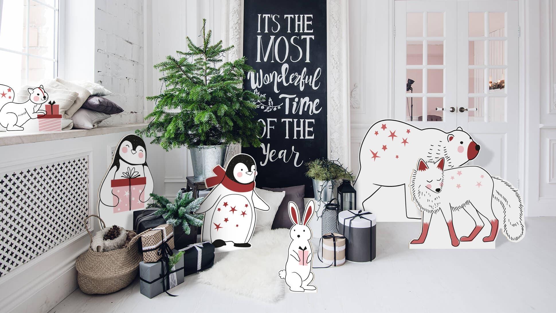 Sagomati natalizi con grafica prestampata animali rosa e rossi | tictac.it