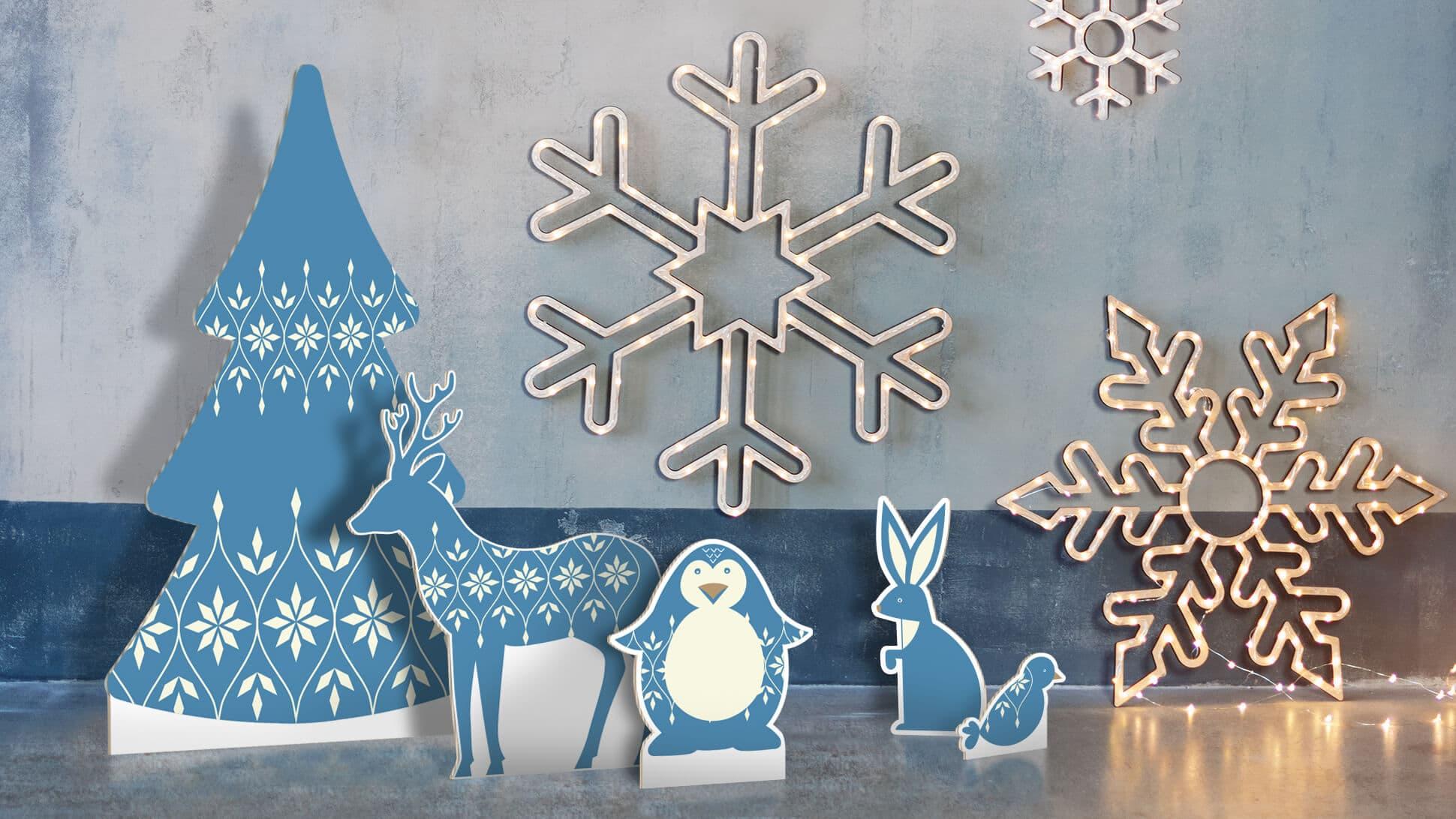Sagomati natalizi con grafica prestampata animali blu per allestimento negozi| tictac.it