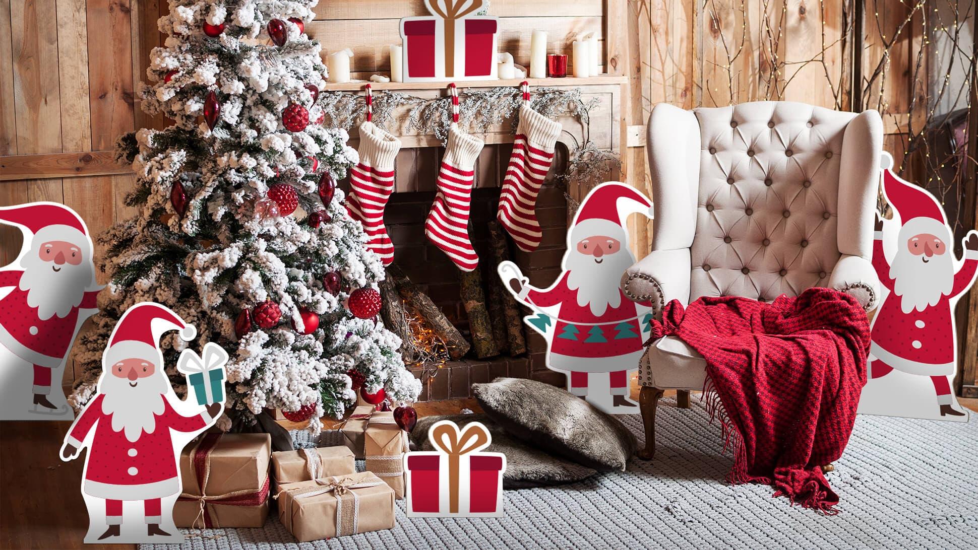 Sagomati natalizi con grafica di Babbo Natale per allestimento negozi e vetrine | tictac.it