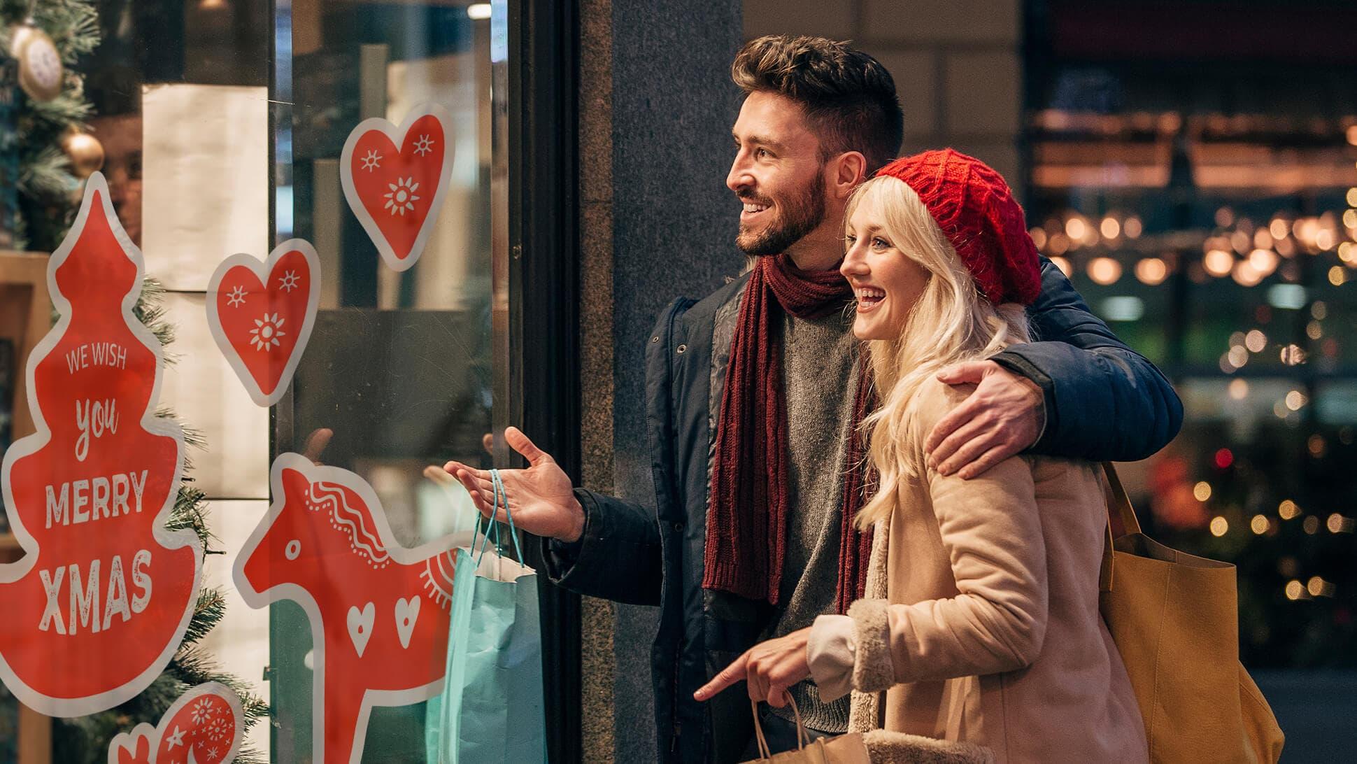 Adesivi prestampati rossi a tema natalizio per allestimenti vetrine | tictac.it