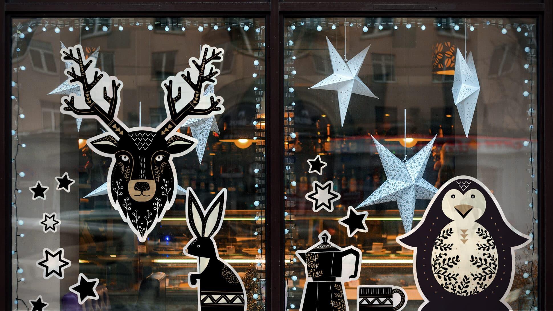 Adesivi prestampati con animali neri e beige per allestimento vetrine e finestre | tictac.it