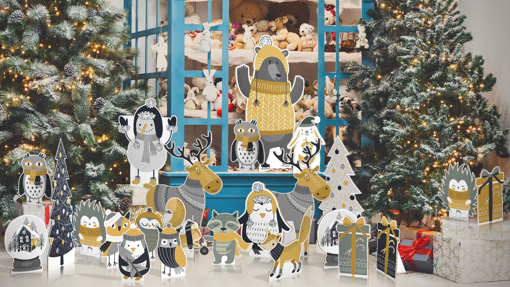sagomati natalizi con animaletti illustrati per allestimenti vetrine e negozi | tictac.it