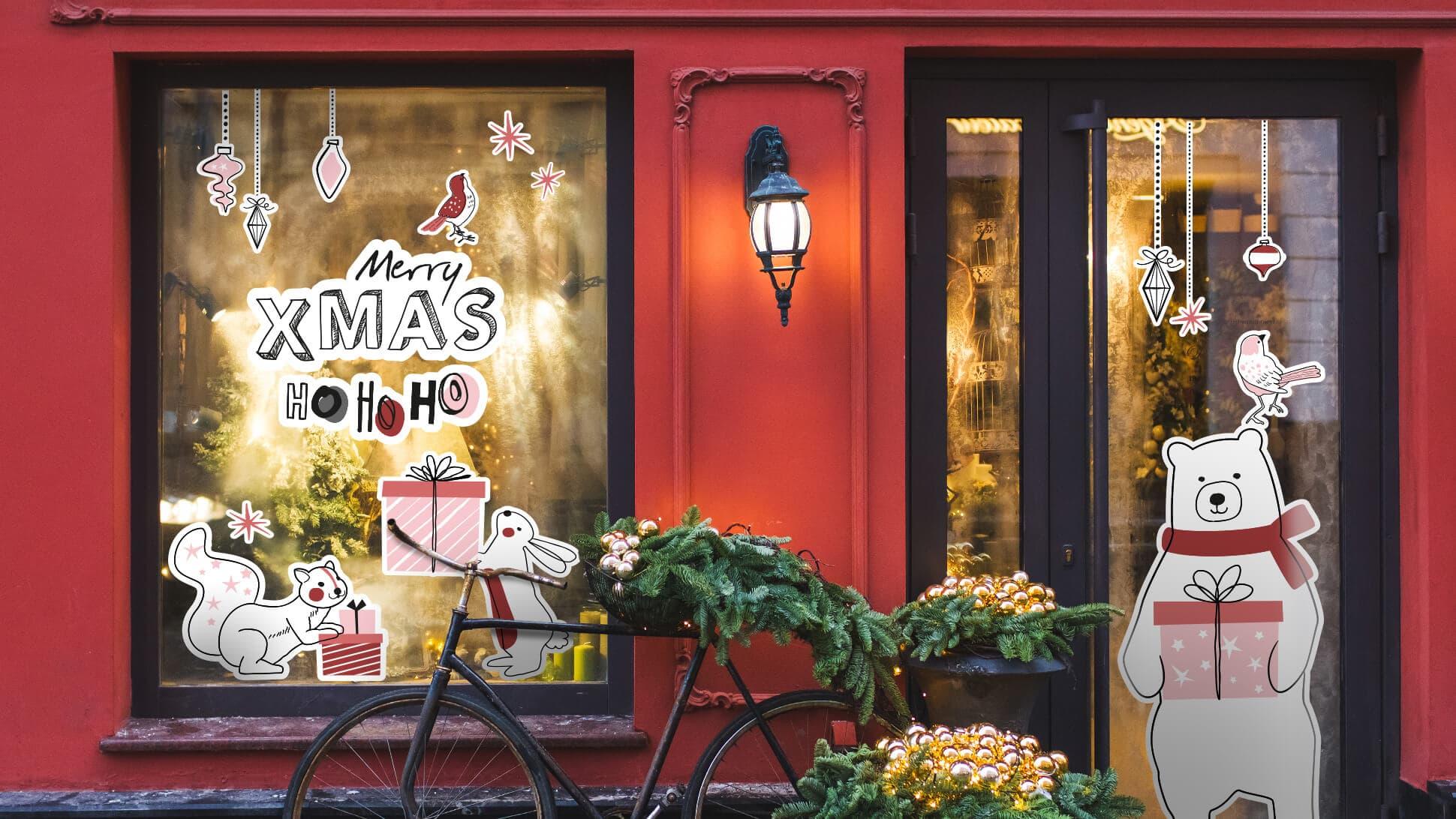 adesivi natalizi per vetrine e negozi | tictac.it