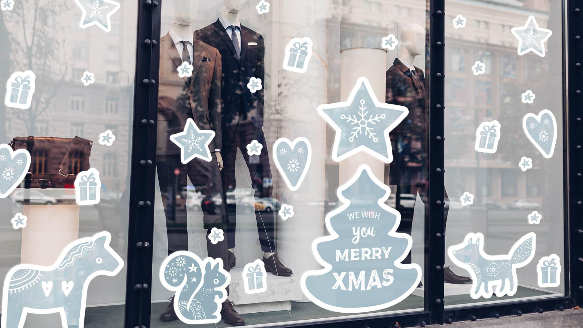 adesivi monocromatici natalizi per vetrine | tictac.it