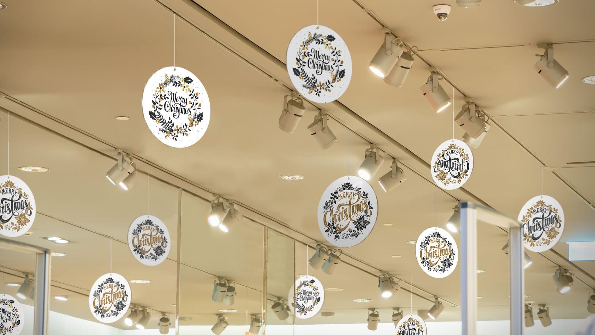 rotair Merry Christmas oro e bianchi in cartone con diversi diametri per centri commerciali e negozi | tictac.it