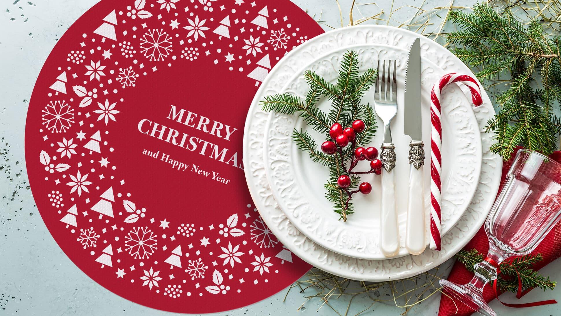 tovaglietta tonda rossa natalizia ideale per allestimento tavole | tictac.it