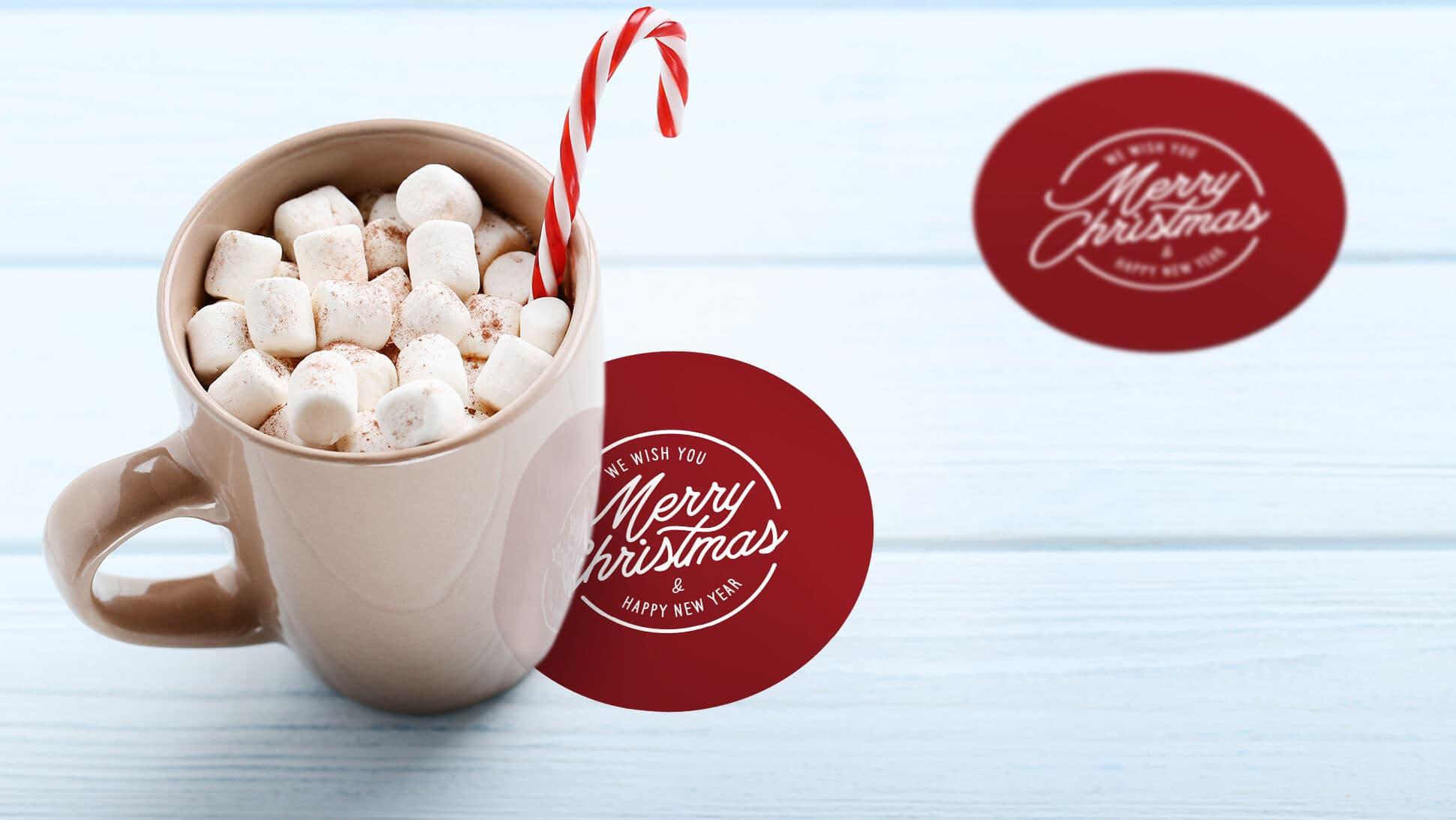 sottobicchieri natalizi con grafica rossa ideale per locali ed eventi | tictac.it