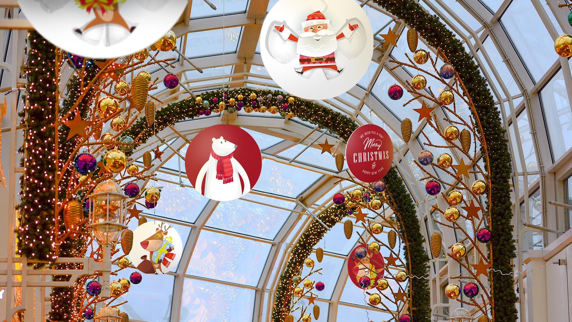 rotair Merry Christmas rossi e bianchi in cartone con diversi diametri per centri commerciali e negozi | tictac.it