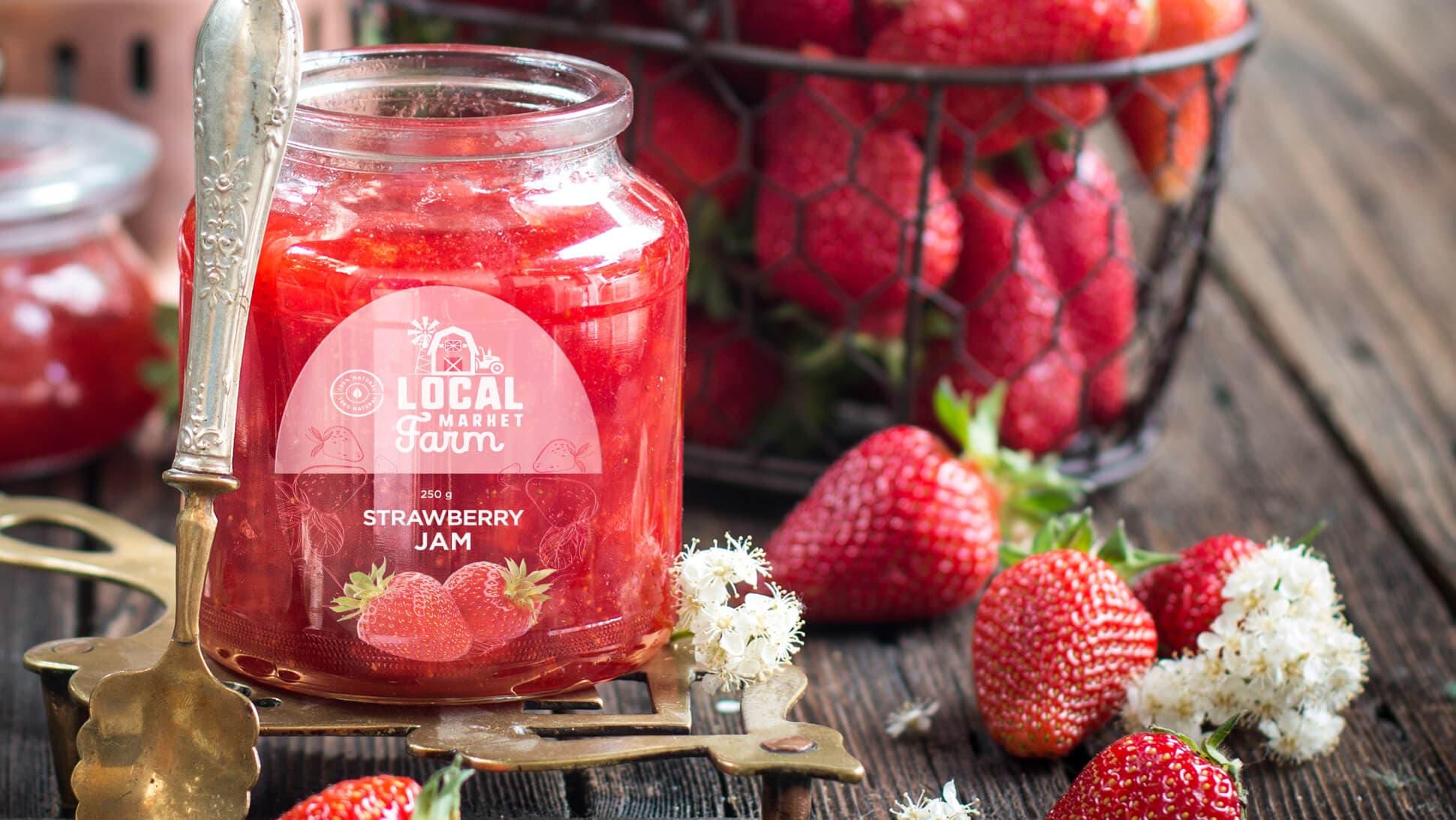 Etichetta in polipropilene trasparente per confettura di fragole | tictac.it
