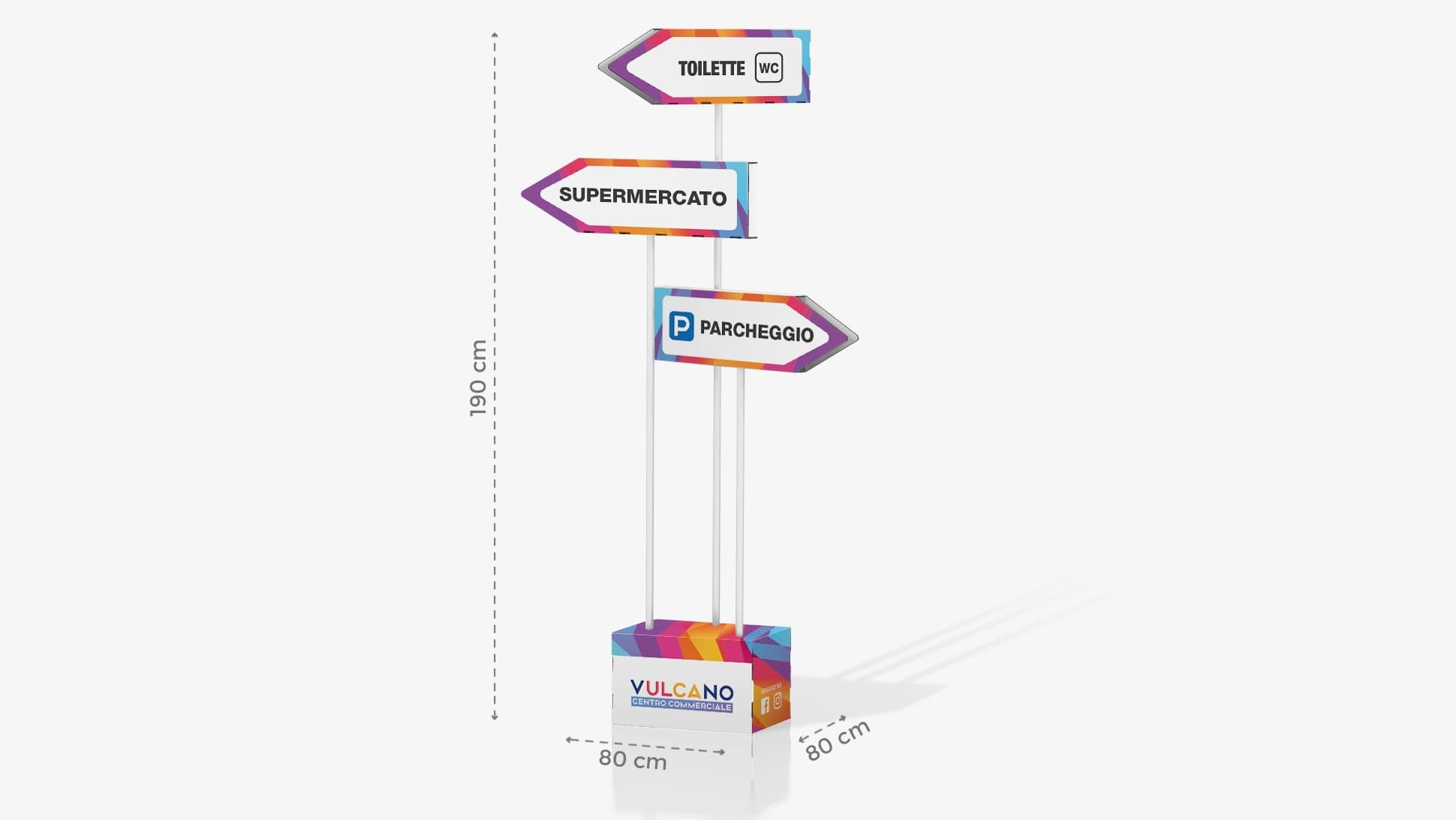 Cartello indicatore h190 cm con grafica personalizzata | tictac.it