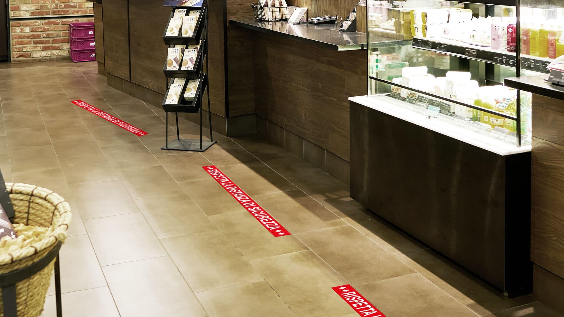 Fasce adesive calpestabili per negozi, supermercati, farmacie, luoghi pubblici | tictac.it