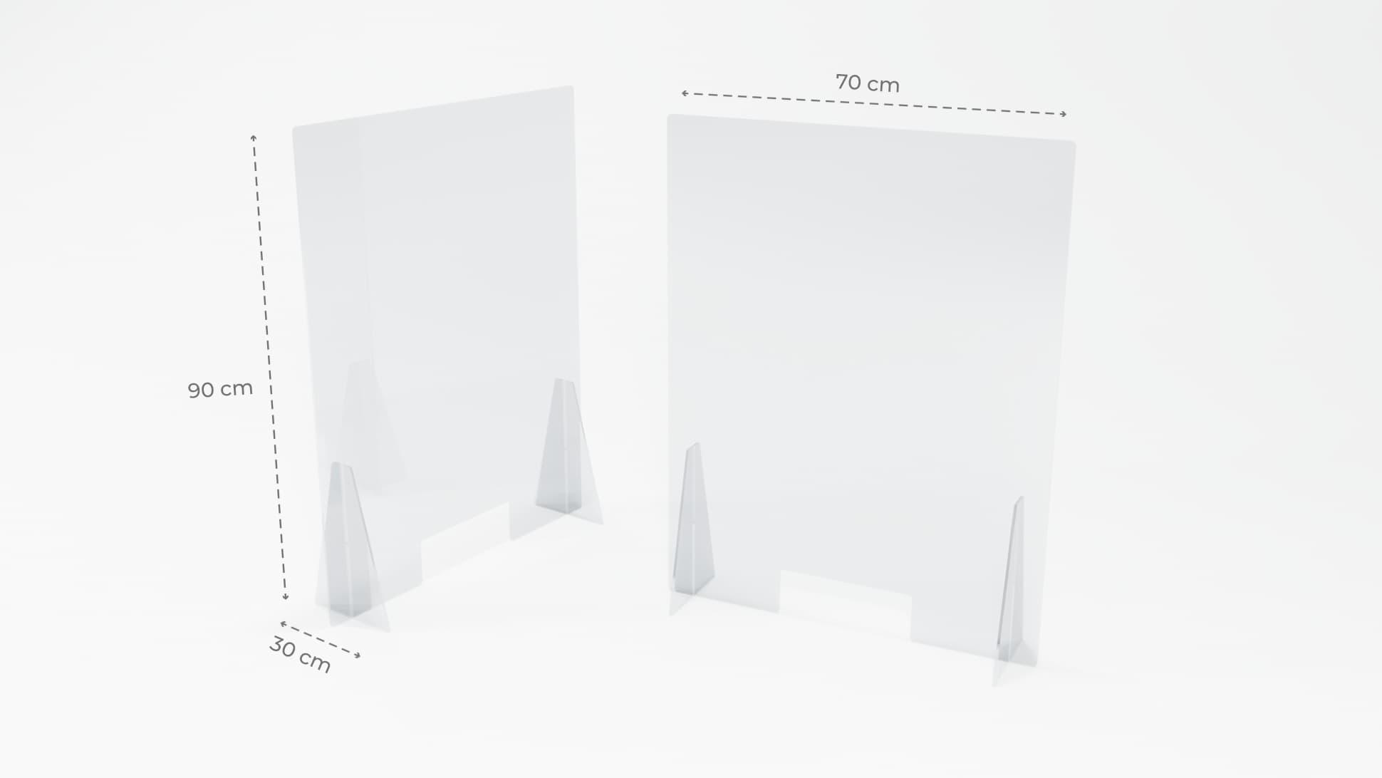 Separè parafiato in plastiglass trasparente 5 mm medio | tictac.it