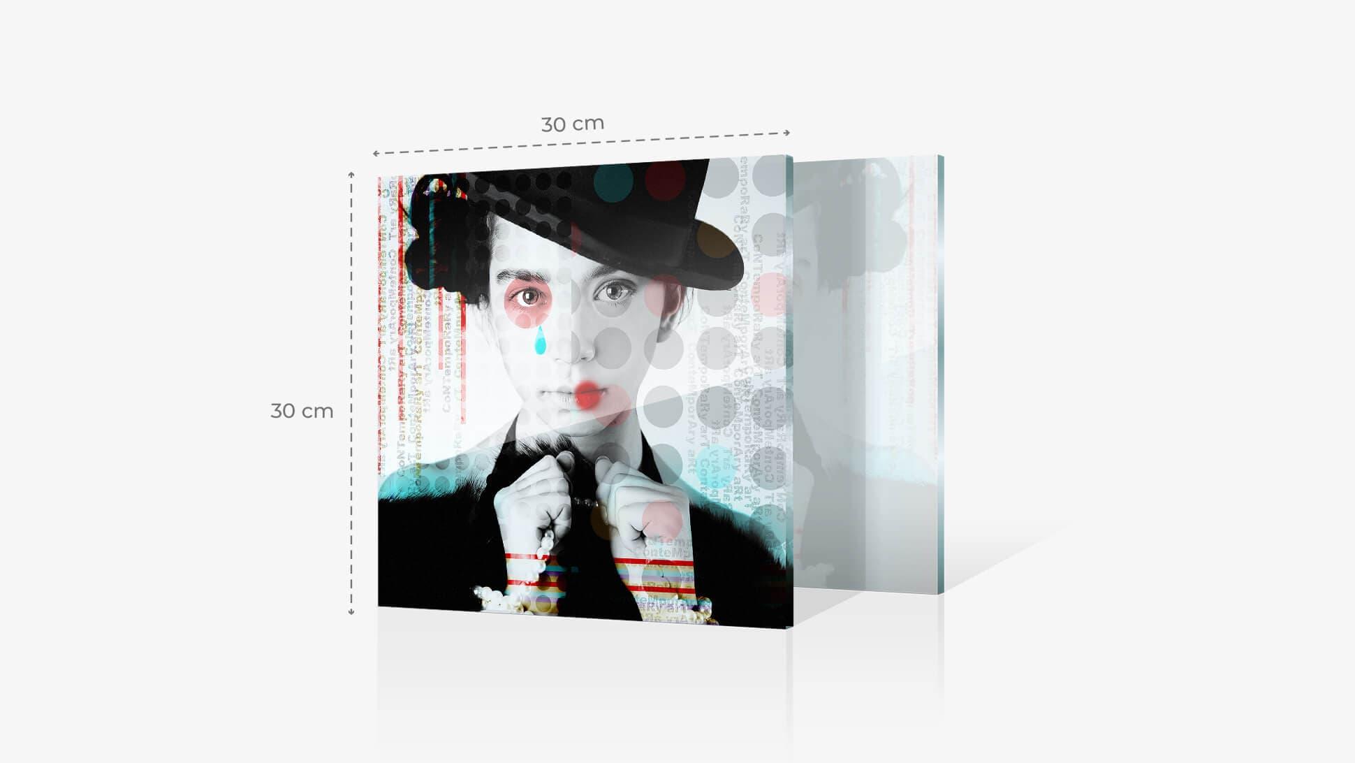 Foto su vetro acrilico 30x30 cm con grafica | tictac.it