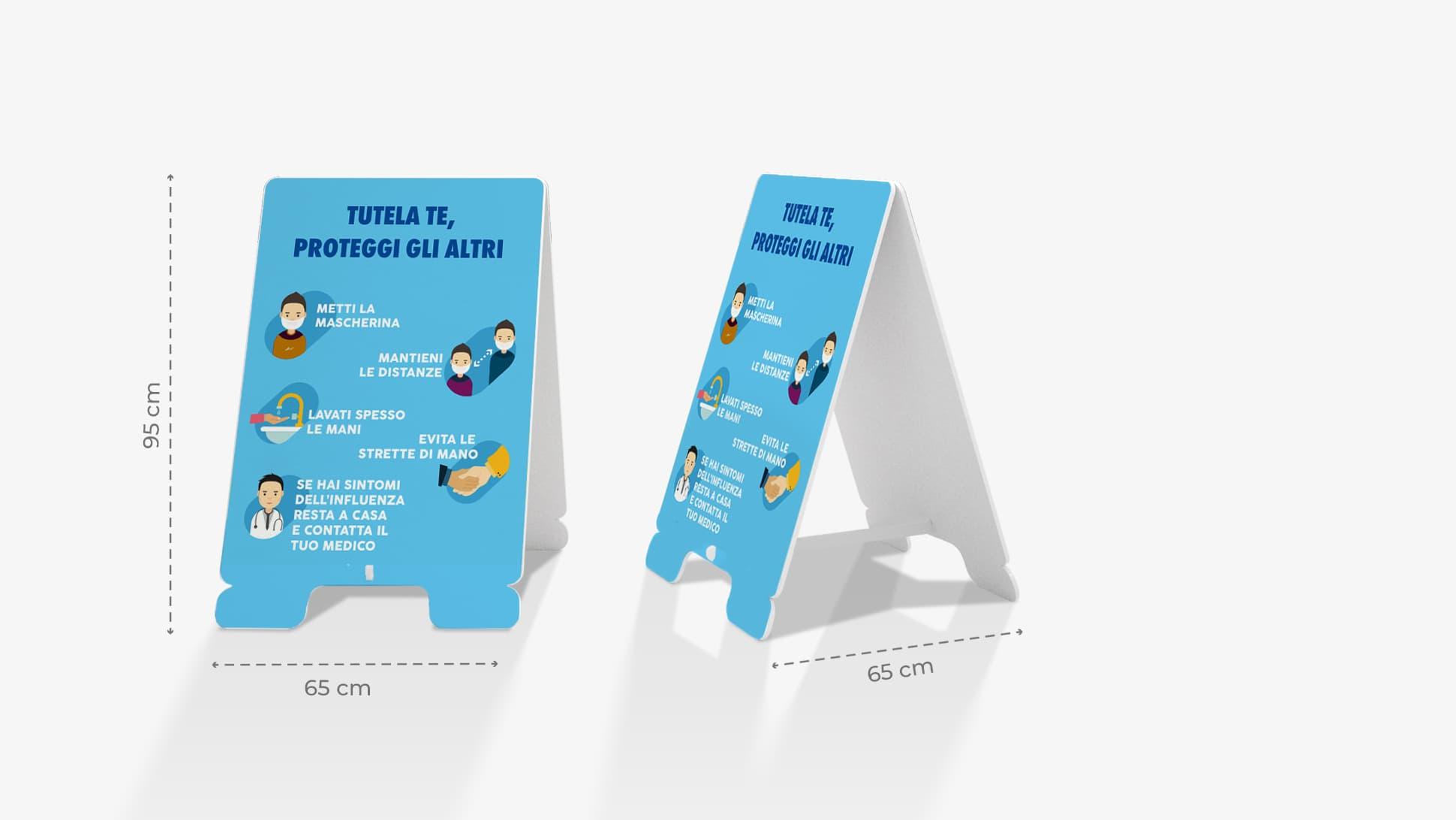 Cavalletto in polionda con informativa sulla sicurezza | tictac.it