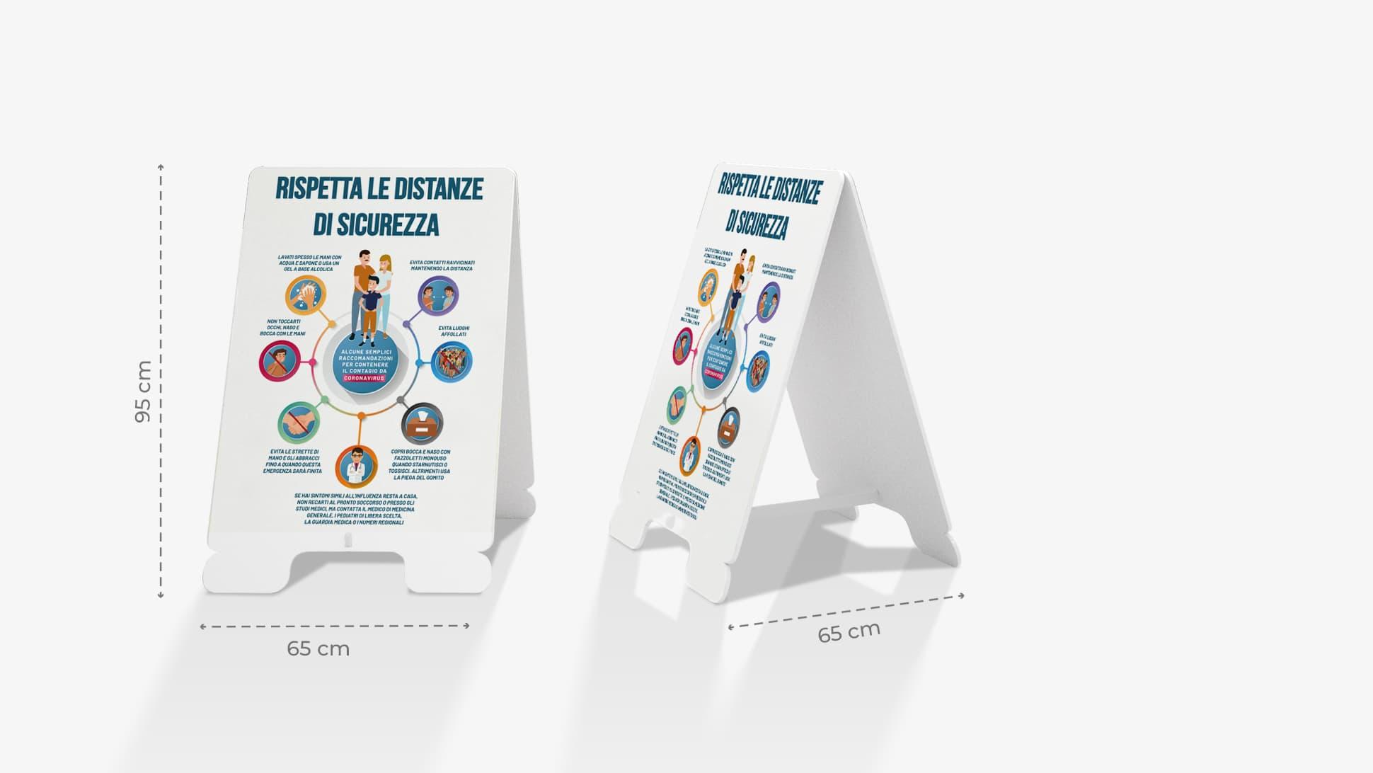 Cavalletto in polionda con informativa infografica Covid-19 | tictac.it