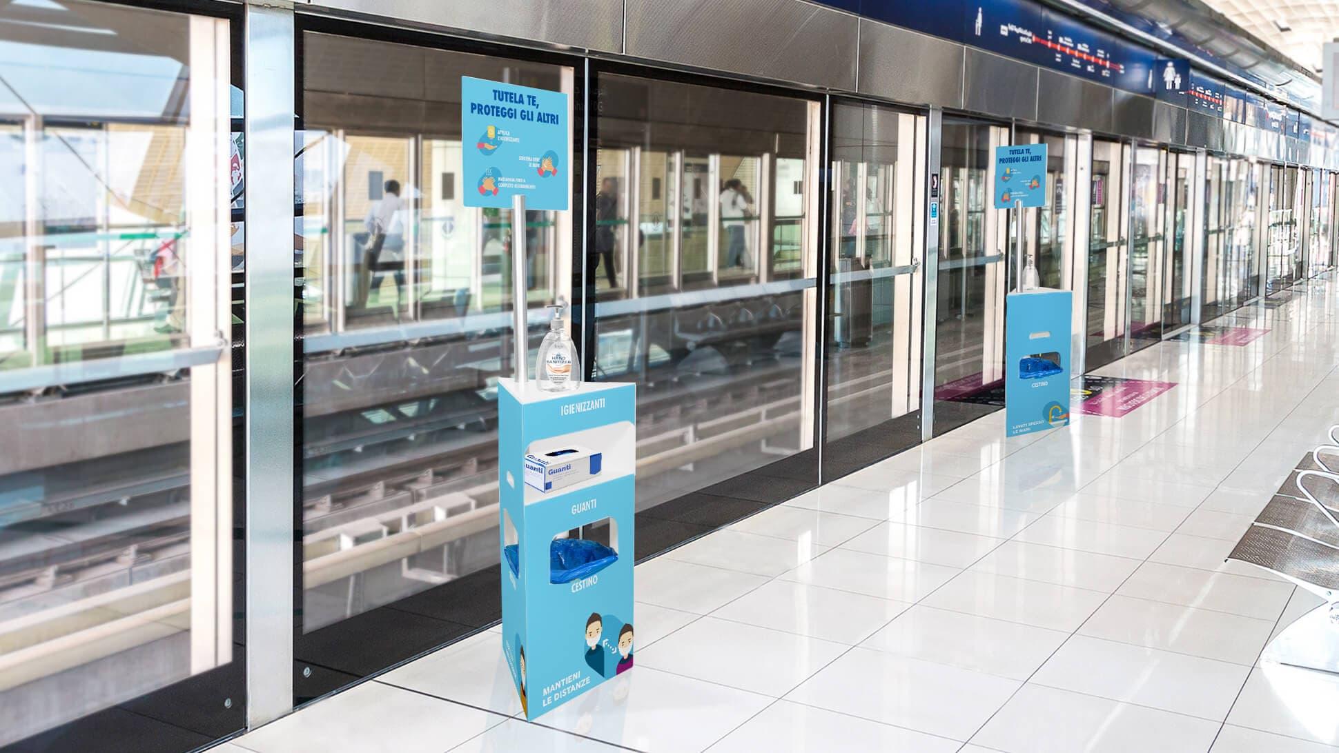 Piantana igienizzante con cestino incorporato personalizzabile | tictac.it
