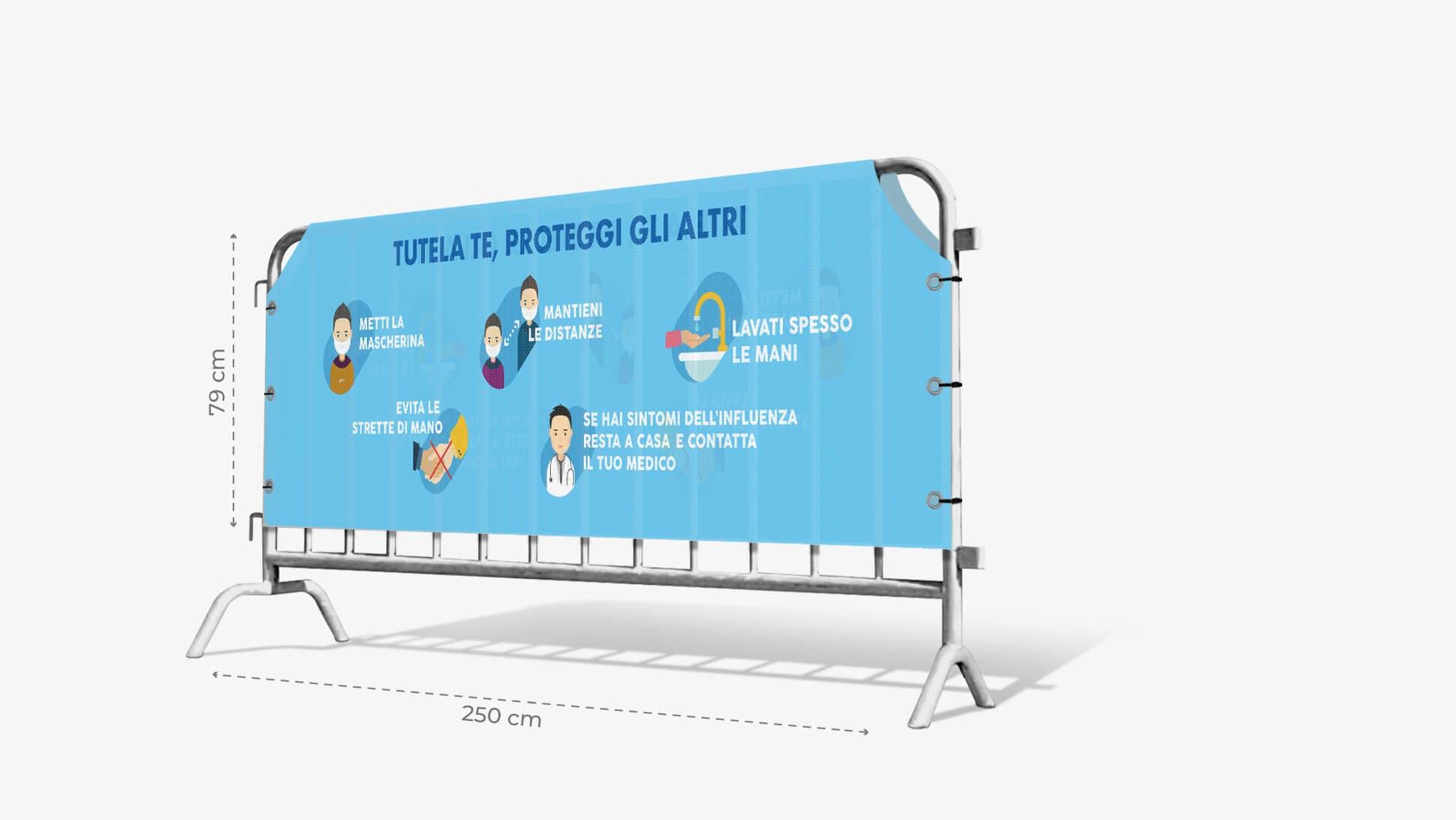 Copritransenna in TNT con grafica prestampata con indicazioni per la sicurezza| tictac.it