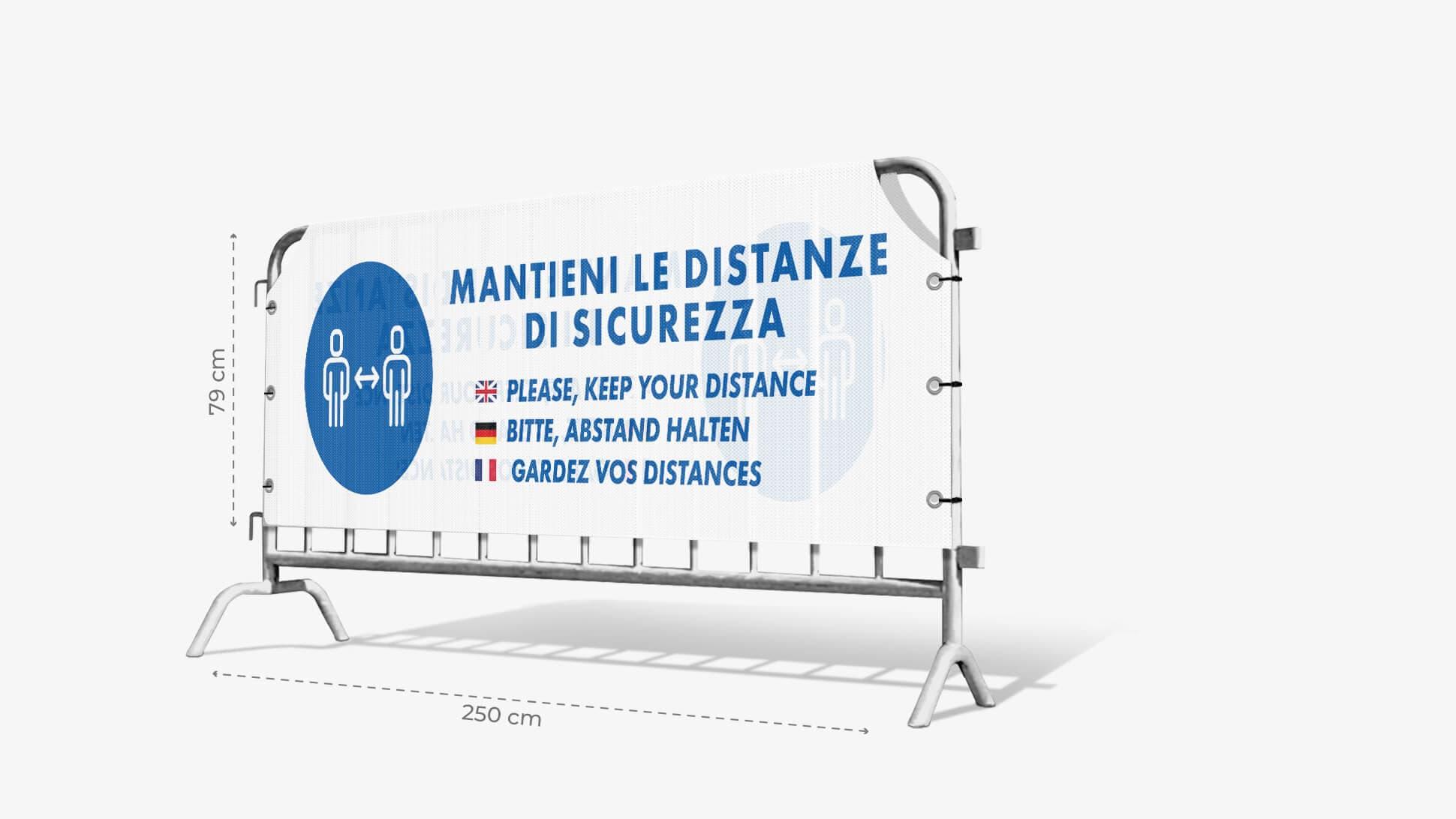 Copritransenna in TNT con grafica prestampata mantieni le distanze di sicurezza| tictac.it