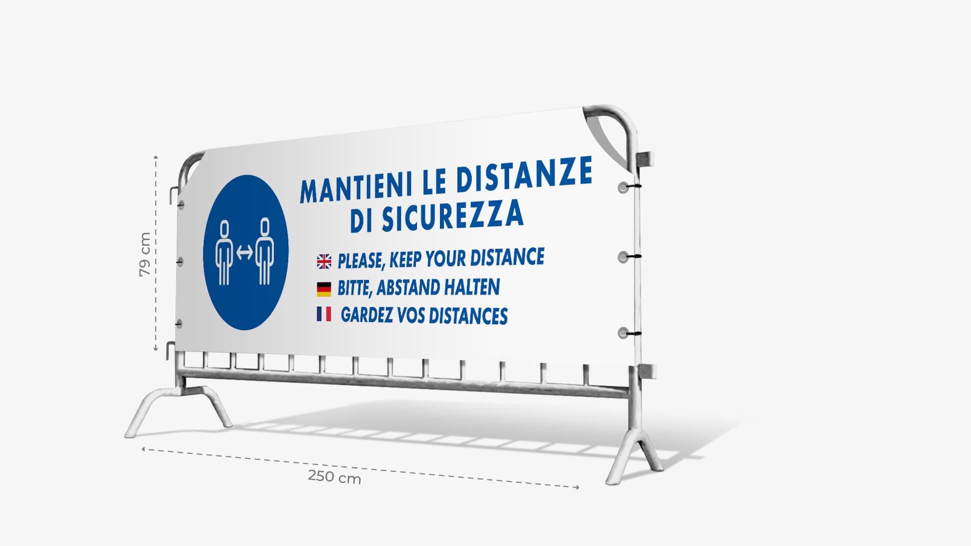 Copritransenna in PVC con grafica prestampata mantieni le distanze di sicurezza | tictac.it
