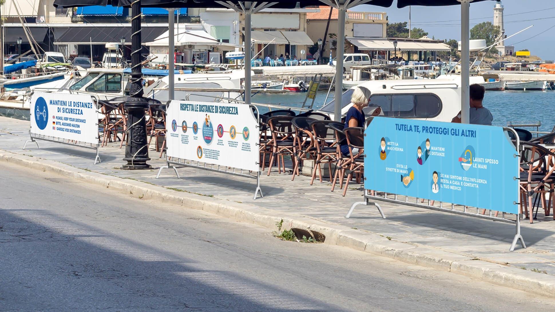 Copritransenna in PVC con grafica prestampata per località turistiche, locali, centri abitati, comuni | tictac.it