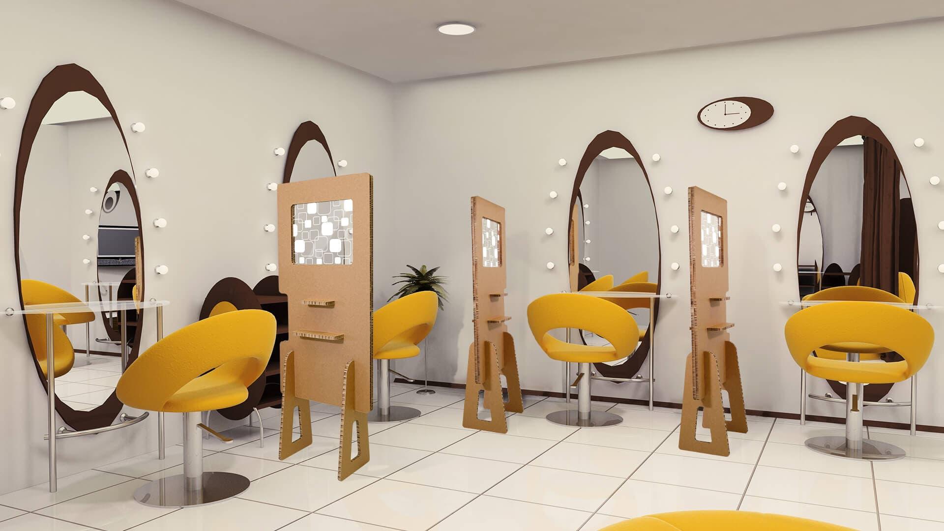 Divisorio in cartone Nidoboard per parrucchieri | tictac.it