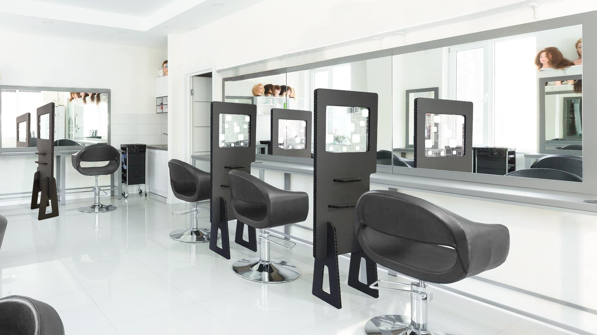 Divisorio ambienti in Nidoboard nero per parrucchieri | tictac.it