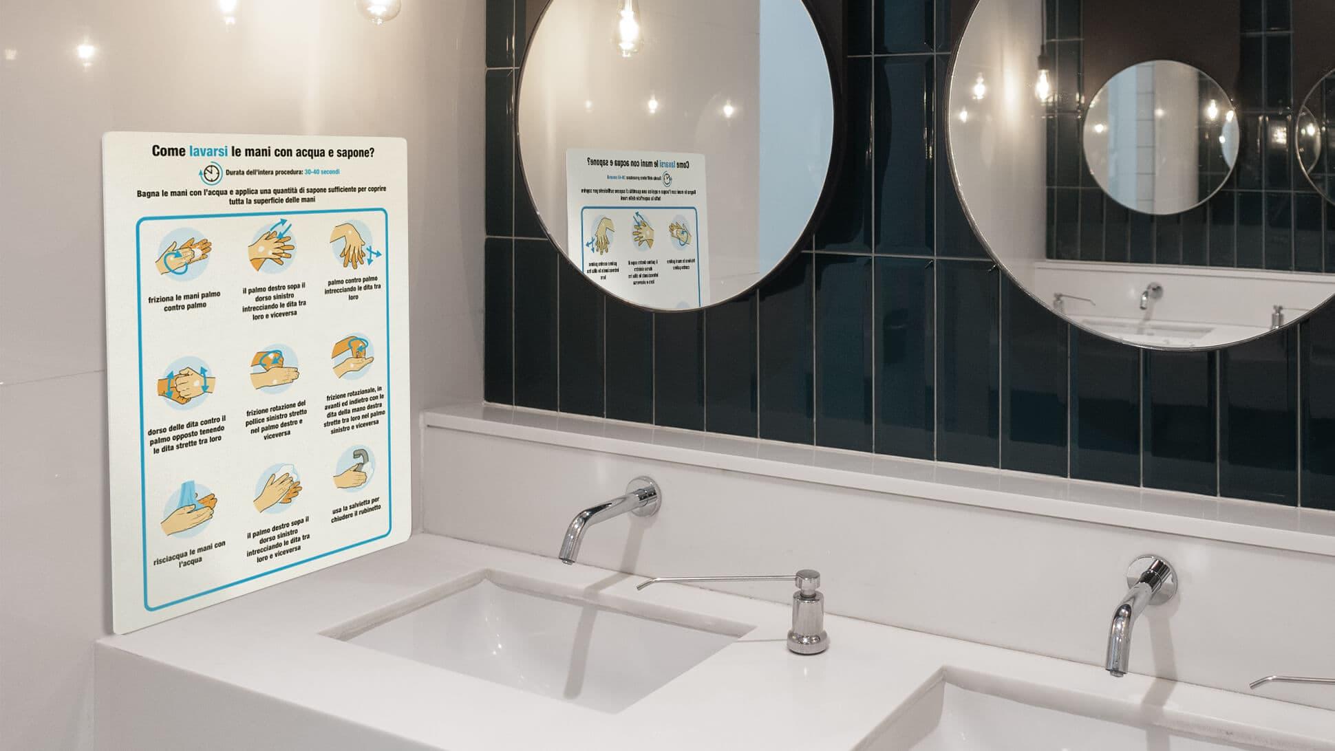 Cartelli illustrativi corretto lavaggio di mani | tictac.it